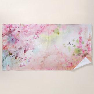 ピンクの水彩画の花のビーチタオル ビーチタオル
