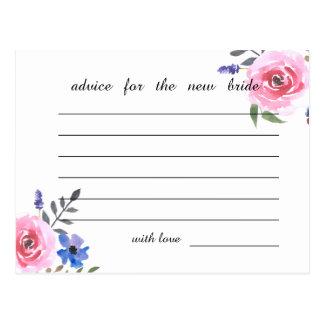 ピンクの水彩画の花のブライダルシャワーのアドバイス ポストカード