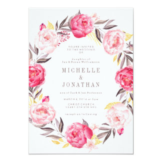ピンクの水彩画の花のリースの結婚式招待状 カード