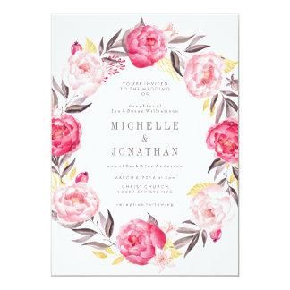 ピンクの水彩画の花のリースの結婚式招待状 12.7 X 17.8 インビテーションカード