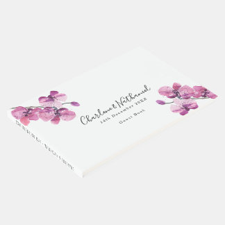 ピンクの水彩画の蘭の名前入りな結婚式 ゲストブック