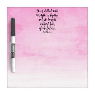 ピンクの水彩画の諺31キリスト教レディース聖書 ホワイトボード