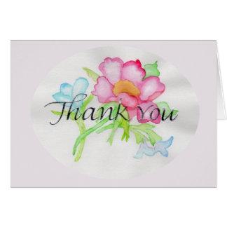 ピンクの水彩画の野生のバラの小型花花束TY カード