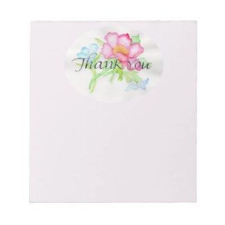 ピンクの水彩画の野生のバラの小型花花束TY ノートパッド