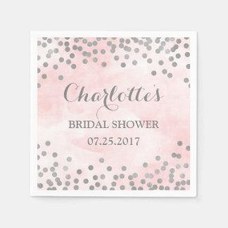ピンクの水彩画の銀の紙吹雪のブライダルシャワー スタンダードカクテルナプキン