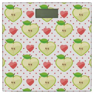 ピンクの水玉模様およびハートが付いているハートのりんご 体重計