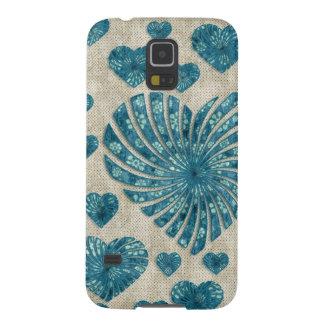 ピンクの水玉模様との青い花のハート GALAXY S5 ケース