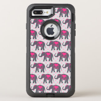 ピンクの水玉模様のかわいらしい灰色のショッキングピンク象 オッターボックスディフェンダーiPhone 8 PLUS/7 PLUSケース