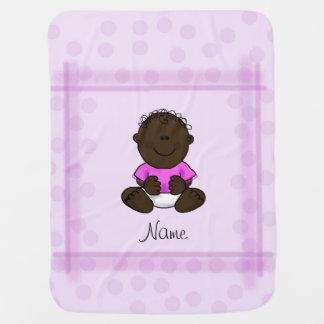 ピンクの水玉模様のアフリカ系アメリカ人の女の赤ちゃん毛布 ベビー ブランケット