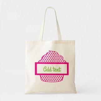ピンクの水玉模様のカップケーキ トートバッグ