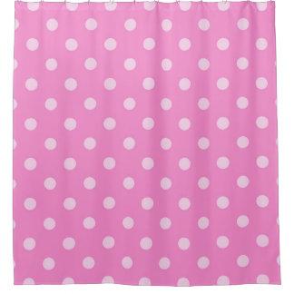 ピンクの水玉模様のシャワー・カーテン シャワーカーテン