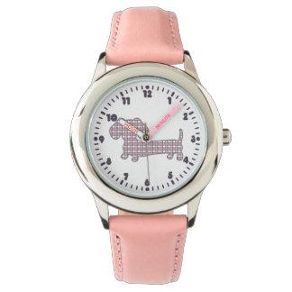 ピンクの水玉模様のダックスフントとのDoxieの時間 腕時計