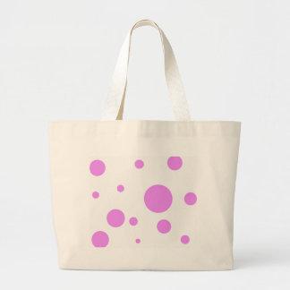 ピンクの水玉模様のデザインのトートバック ラージトートバッグ