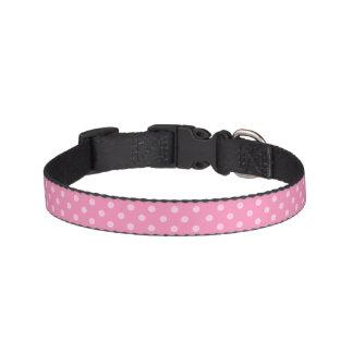 ピンクの水玉模様のドッグカラー ペット首輪