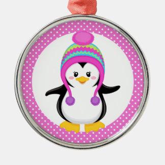 ピンクの水玉模様の冬のペンギンの女の子 メタルオーナメント