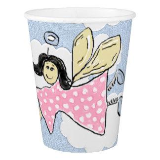 ピンクの水玉模様の天使 紙コップ