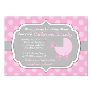 ピンクの水玉模様の女の赤ちゃんのベビーシャワーの招待状 カード