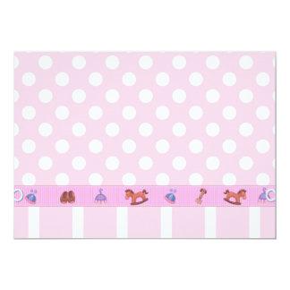 ピンクの水玉模様の子馬のベビーの招待状 カード