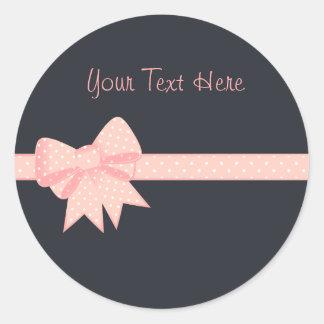 ピンクの水玉模様の弓Sitckers ラウンドシール