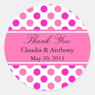ピンクの水玉模様の結婚は感謝していしています ラウンドシール