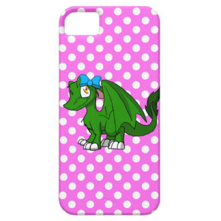 ピンクの水玉模様の背部2が付いているマツ緑SD毛皮で覆われたドラゴン iPhone SE/5/5s ケース