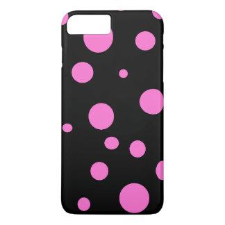 ピンクの水玉模様のiPhoneのケースとの魅力的な黒 iPhone 7 Plusケース