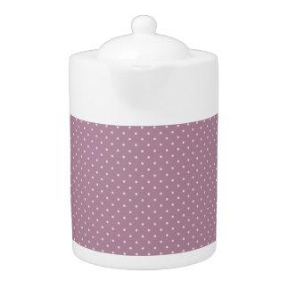 ピンクの水玉模様媒体のティーポット