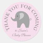 ピンクの水玉模様灰色象のベビーシャワーのステッカー ラウンドシール