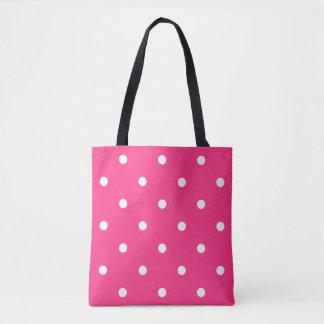 ピンクの水玉模様 トートバッグ