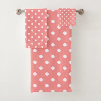 ピンクの水玉模様 バスタオルセット