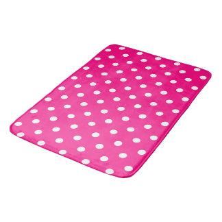 ピンクの水玉模様 バスマット