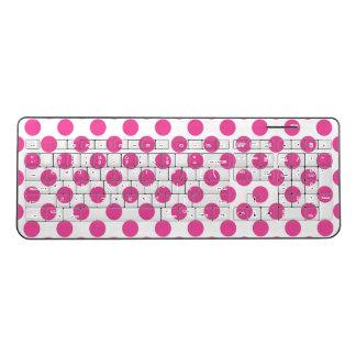 ピンクの水玉模様 ワイヤレスキーボード