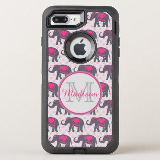 ピンクの水玉模様、名前の灰色のショッキングピンク象 オッターボックスディフェンダーiPhone 8 PLUS/7 PLUSケース