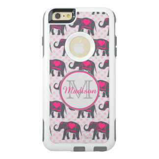 ピンクの水玉模様、名前の灰色のショッキングピンク象 オッターボックスiPhone 6/6S PLUSケース