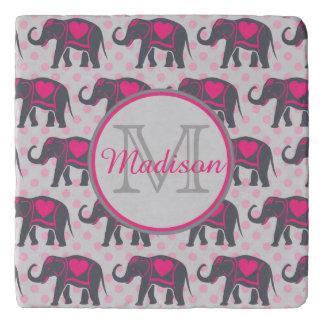 ピンクの水玉模様、名前の灰色のショッキングピンク象 トリベット