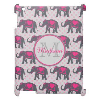 ピンクの水玉模様、名前の灰色のショッキングピンク象 iPadカバー