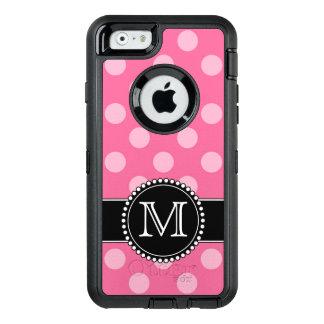 ピンクの水玉模様、名前入りで、モノグラムのな擁護者 オッターボックスディフェンダーiPhoneケース