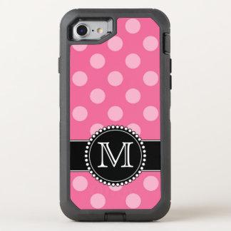 ピンクの水玉模様、名前入りで、モノグラムのな擁護者 オッターボックスディフェンダーiPhone 7 ケース