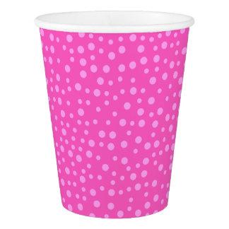 ピンクの水玉模様 紙コップ