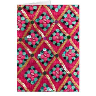 ピンクの派手な編まれた織物のデザイン カード