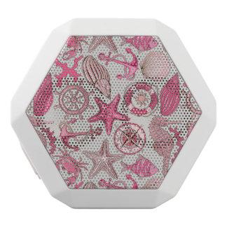 ピンクの海パターン ホワイトBluetoothスピーカー