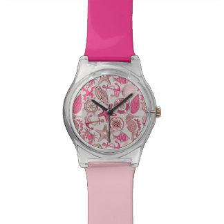 ピンクの海パターン 腕時計