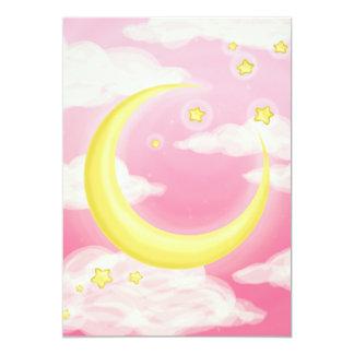 ピンクの淡い色のな月 カード