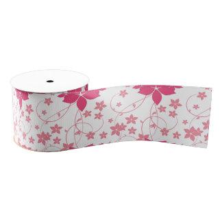 ピンクの渦巻く花のデザイン グログランリボン