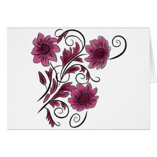 ピンクの渦巻形のな花 カード