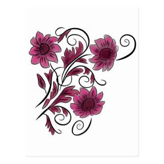 ピンクの渦巻形のな花 ポストカード