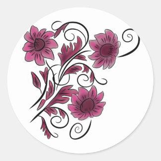 ピンクの渦巻形のな花 ラウンドシール