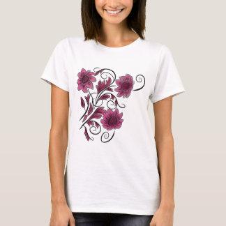 ピンクの渦巻形のな花 Tシャツ
