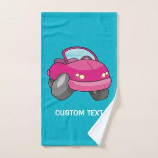 ピンクの漫画車 バスタオルセット