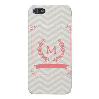 ピンクの灰色のシェブロンのモノグラムのiPhoneの箱 iPhone SE/5/5sケース